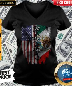 Nice Mexican And American Flag V-neck